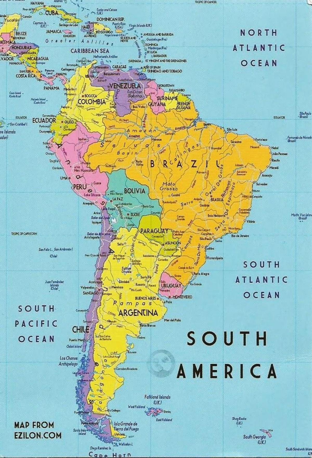 Guyana America De Sud Harta Hartă Din Guyana America De Sud